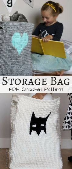 Kid friendly crocheted storage bag that's washable, soft, and cute. Perfect for toys, books, or as a mini clothes hamper. #storagebag #ad #crochetpattern