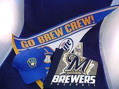 NEW Lot (3) Milwaukee Brewers Cap T-Shirt Pennant Brew Crew Baseball MLB Apparel Sports Mem, Cards & Fan Shop:Fan Apparel & Souvenirs:Baseball-MLB www.internetauctionservicesllc.com $12.99