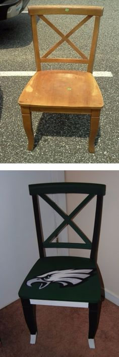 DIY Projects for the Sports Fan - Upcycled Hand Painted Decoupage Sports Lovers Chair - Crafts and DIY Ideas for Men - Football, Baseball, Basketball, Soccer and Golf - Wall Art, DIY Gifts, Easy Gift Ideas, Room and Home Decor http://diyjoy.com/diy-ideas-sports-fan