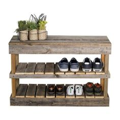 Muebles con palet del Hutson Designs Reclaimed Barnwood Natural Shoe Rack Bench - The Home D Wood Shoe Rack, Shoe Rack Bench, Shoe Storage Rack, Diy Shoe Rack, Bench With Shoe Storage, Shoe Racks, Rustic Shoe Rack, Outdoor Shoe Storage, Shoe Rack Out Of Pallets