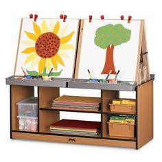 Sproutz 4 Station Art Center Caramel elbow room and storage galore in this eco-friendly art center. removable tabletop easels mount securely to base. Classroom Layout, New Classroom, Classroom Organization, Classroom Decor, Organization Ideas, Daycare Spaces, Home Daycare, Daycare Ideas, Preschool Arts And Crafts