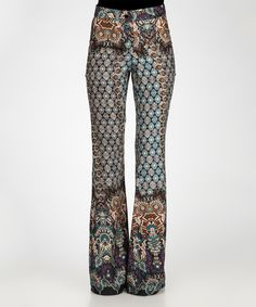 Turquoise & Black Arabesque Flare Pants by Joins
