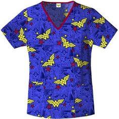 Nurses Scrubs Top DC COMICS Superhero Wonderwoman V-Neck Scrub Top XS S M L XL 2XL 3XL - Brand-new, with tags - EXCELLENT QUALITY.
