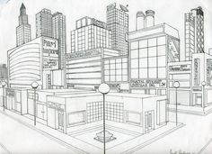 2 point perspective drawing of a street corner Art 1 Inspiration