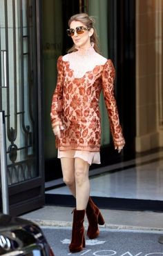 Celine Dion Mid-Calf Boots - Celine Dion went for an edgy finish with brown velvet platform boots.