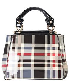 Diophy Shiny Patent PU Leather Classical Plaid Small Top Handle Handbag Accented with Removable Strap Womens Purse GZ-3655 * You can find more details at