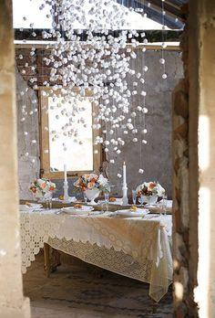 MARSHMALLOW SNOW - How fun for a party... cheap decor option?