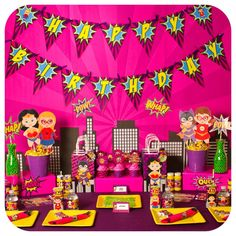 Pink dessert table at a supergirl birthday party! See more party planning ideas at CatchMyParty.com!