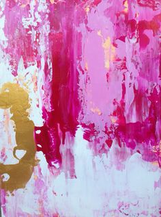 Pastel Abstract Painting with Gold Leaf di JenniferFlanniganart