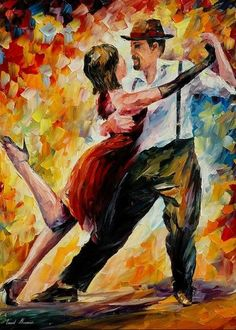 Afremov Greeting Card featuring the painting Tango In Red by Leonid Afremov