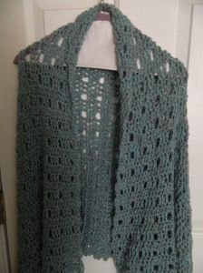 This was a very easy prayer shawl to make. Here's the pattern which I found on someone else's site. http://www.shawlministry.com/Crochet%20Patterns/anniversary_shawl.htm