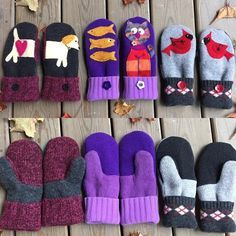 How adorable are these hand made mittens created from rescued sweaters and fleeces?! Which one is your favorite? #mittens #handmademittens #reuse #remade