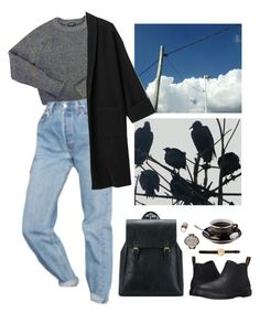"""""""ponder!"""" by paper-freckles ❤ liked on Polyvore featuring American Apparel, Urban Outfitters, Dr. Martens and Celestina"""