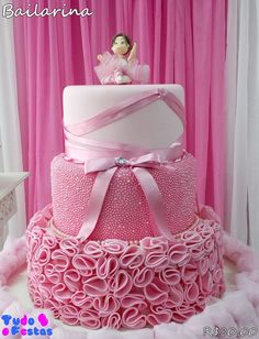 Torta d lia Cute Birthday Cakes, Ballerina Birthday Parties, Girl Birthday Themes, Ballerina Party, Birthday Party Decorations, Ballet Cakes, Ballerina Cakes, Ruffle Cake Tutorial, Party Pictures