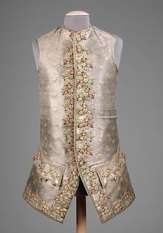 Silver grey waistcoat with floral embroidery, 1750. Gorgeous! The Earl of Salt Hendon would wear this. SALT BRIDE