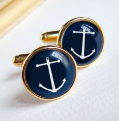 Anchor Cuff links in Navy Blue and Gold - Nautical Beach Wedding - cufflinks for Groom Best Man Graduate or Father's Day. $38.00, via Etsy.