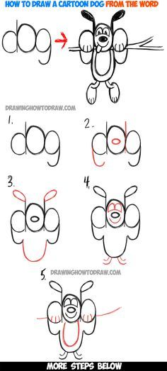 How to Draw A Cartoon Dog Hanging Out from the Word 'dog' : Easy Tutorial for Kids