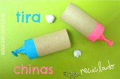 tirachinas con rollos reciclados