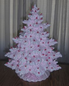 Lighted Ceramic Christmas Tree - Pink w/White Accents, Lace Base w/Holly Vintage Ceramic Christmas Tree, Pink Christmas Tree, Shabby Chic Christmas, All Things Christmas, Christmas Tree Ornaments, Christmas Holidays, Christmas Decorations, Merry Christmas, Vintage Decorations