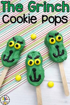 What better way to celebrate Dr. Seuss' birthday on March 2nd then with cookies... Grinch Cookie Pops! What I love most about these cookie pops is that they are easy-to-make. They are the perfect treat to make with your students in your classroom or with your little helpers at home after reading the book. What a fun (and yummy) activity for reading month! Click on the picture to learn how to make these Dr. Seuss inspired treats! #drseuss #thegrinch #readingmonth #drseusstreats #drseusssnack