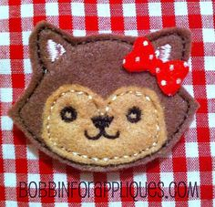 Applique Layered Fox Feltie Embroidery Design File