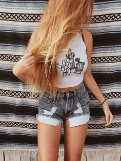 White cactus halter crop top, high waisted shorts