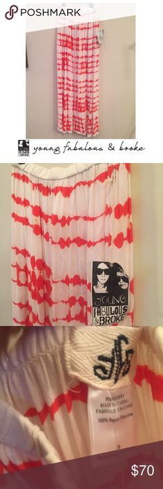 Young Fabulous & Broke Red & White Maxi Skirt Young Fabulous & Broke Red & White Maxi Skirt. Dual slits on the sides. Approx 42 inches long and 14 inch elastic waist. New with tags. No flaws or issues. Feel free to make an offer or bundle & save! Young Fabulous & Broke Skirts Maxi