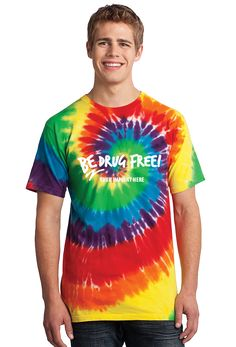 Port and Company Essential Tie-Dye Tee. Colorfully cool this groovy unisex tee is a surefire way to stand out from the crowd. pigment-dyed cotton Sewn with cotton thread for a finished look Rib knit crewneck Taped neck and shoulders Double-needle s Dye Shirt, Tie Dye T Shirts, Knit Shirt, Tye Dye, Red Ribbon Week, Yearbook Covers, Tie Dye Rainbow, Tie Dye Techniques, Home T Shirts