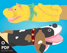 PDF. Easy-to-make Cat & Dog simple hand puppet pattern with an