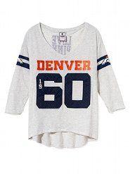 New England Patriots Three Quarter Sleeve Drapey Tee - Victoria's Secret PINK® - Victoria's Secret Denver Broncos Sweatshirt, Denver Broncos Baby, Broncos Gear, Panthers Football, Go Broncos, Broncos Fans, Nfl, Victoria's Secret, Half Zip Pullover