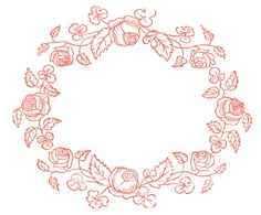 Royalty Free Images - Rose Wreaths - Embroidery Pattern #Printable #Vintage #Floral