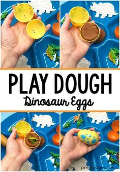 Dinosaur play dough activity using plastic eggs. Your kids will have fun making and hatching their very own dinosaur eggs with this fun activity for a dinosaur theme in the preschool, pre-k, or kindergarten classroom. Dinosaur Classroom, Dinosaur Theme Preschool, Dinosaur Play, Dinosaur Crafts, The Good Dinosaur, Preschool Themes, Fun Activities For Kids, Kindergarten Classroom, Preschool Crafts