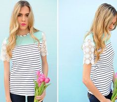 Stripes and Lace make the perfect combo on this darling tee!! Only $19.99!