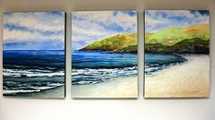 from Annie Strack news: Mounting a Watercolor Triptych on Cradled Art Boards. Really liked this triptych. Watercolour Tutorials, Watercolor Techniques, Painting Techniques, Triptych Art, Painting Lessons, Beach Art, Pictures To Paint, New Art, Landscape Paintings