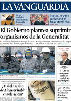 Los Titulares y Portadas de Noticias Destacadas Españolas del 3 de Diciembre de 2013 del Diario La Vanguardia ¿Que le pareció esta Portada de este Diario Español?
