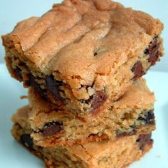 Thick & Chewy Chocolate Chip Cookie Bars, from Cook's Illustrated - use all chocolate chips or sub half with PB chips or butterscotch chips