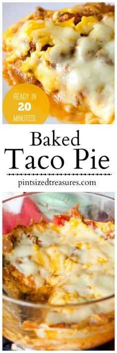 Baked Taco Pie ~ Layers of cheese, sauce and spices create the perfect taco pie that's a super quick and easy meal idea for your family. Enjoy this easy recipe that's sure to become your family's favorite way to eat tacos!