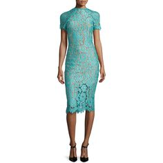 Alexis Leona Short-Sleeve Lace Sheath Dress ($525) ❤ liked on Polyvore featuring dresses, turquoise, short blue dresses, short sleeve lace dress, scalloped dress, lace dress and mid calf dresses