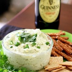 Guinness and Cheddar Dip Recipe Appetizers with cream cheese, sharp cheddar cheese, dijon mustard, half & half, Guinness Beer, scallions, garlic, parsley, pepper, sea salt