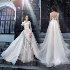 Milva Bridal Wedding Dresses 2018 Sexy Wedding Dresses with Detachable Train Sheer Long Sleeves Lace Back Mermaid Bridal Gowns - Mermaid Dresses Cathedral Wedding Dress, Wedding Dress Train, Fit And Flare Wedding Dress, Wedding Dresses 2018, Luxury Wedding Dress, Lace Mermaid Wedding Dress, Mermaid Dresses, Bridal Dresses, Lace Dresses