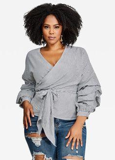 52f51a57871 Poplin Wrap Triple-Tier Sleeve Blouse. Plus Size ...