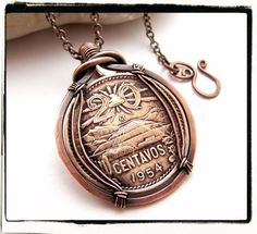 $29.99 Rare 1954 Mexican 20 Centavos Foreign Coin Pendant with Chain
