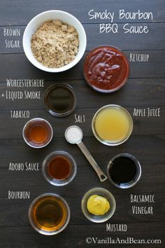 Smoky Bourbon BBQ Sauce is tangy, with smoky flavors, spicy and sweet! An easy, quick and homemade BBQ sauce recipe for all your saucin' needs. Homemade Bbq Sauce Recipe, Barbecue Sauce Recipes, Barbeque Sauce, Homemade Spices, Homemade Seasonings, Grilling Recipes, Cooking Recipes, Bbq Sauces, Smoker Recipes