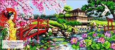 A Beautiful Japanese Garden by CrossStitchRinna on Etsy