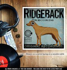Rhodesian Ridgeback records dog album style by geministudio