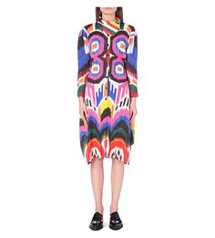 PLEATS PLEASE ISSEY MIYAKE Button-front pleated printed long coat (Pink multi
