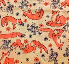 This would make the cutest shirt/tunic/dress!!  Vintage Lilly Pulitzer Playful Foxes Fabric by Key West Hand Print Fabrics | eBay