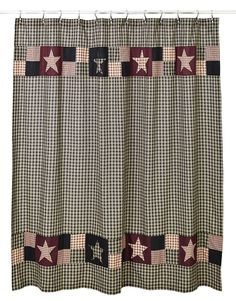 Plum Creek Shower Curtain, by Olivia's Heartland. Add warmth and comfort to your country primitive bathroom with this patchwork shower curtain. Primitive Stars, Primitive Homes, Country Primitive, Country Farmhouse, Country Kitchen, Farmhouse Decor, Primitive Shower Curtains, Primitive Bathroom Decor, Primitive Decor