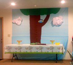 Owl scene and dessert table for baby shower