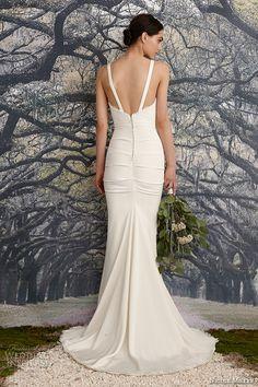 nicole miller spring 2016 bridal strap scallop neckline stretch crepe de chine v neck sheath wedding dress tonya back